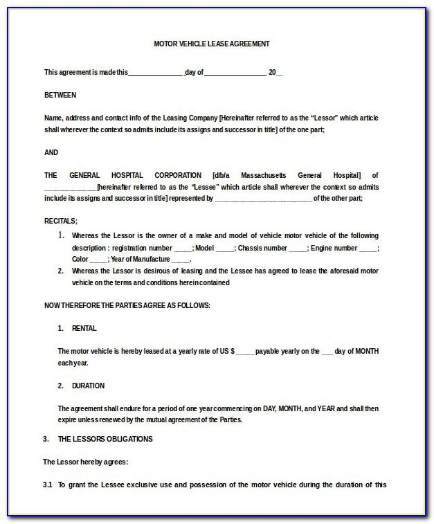 Simple Lease Agreement Template Florida