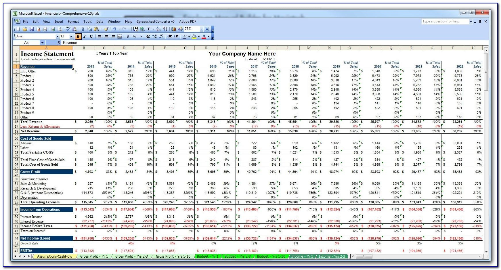 Simple P&l And Balance Sheet Template