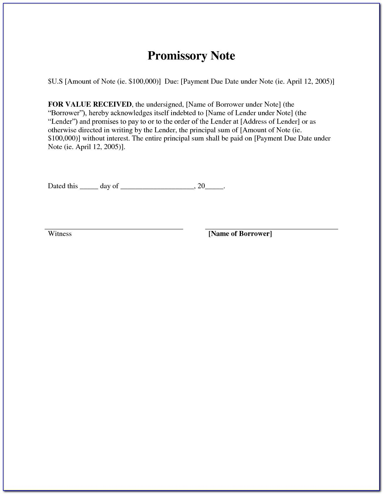 Simple Promissory Note Sample For Tuition Fee