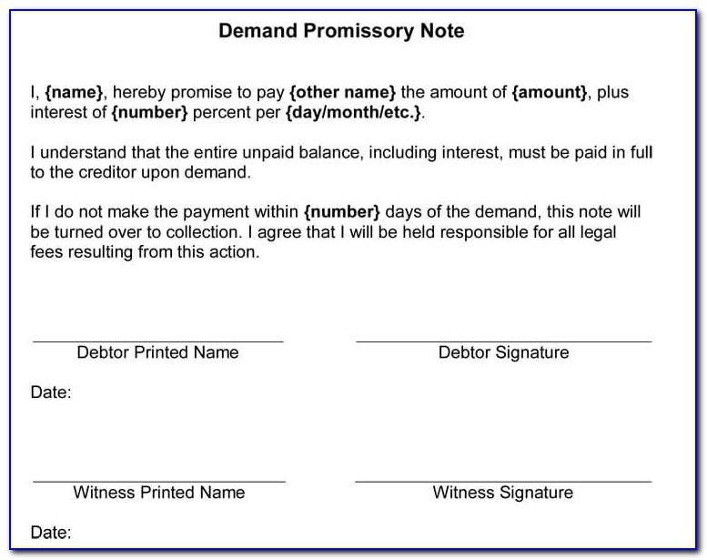 Simple Promissory Note Template Uk