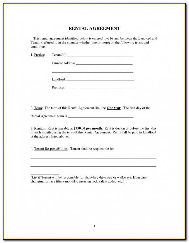 Simple Rental Agreement Template Free