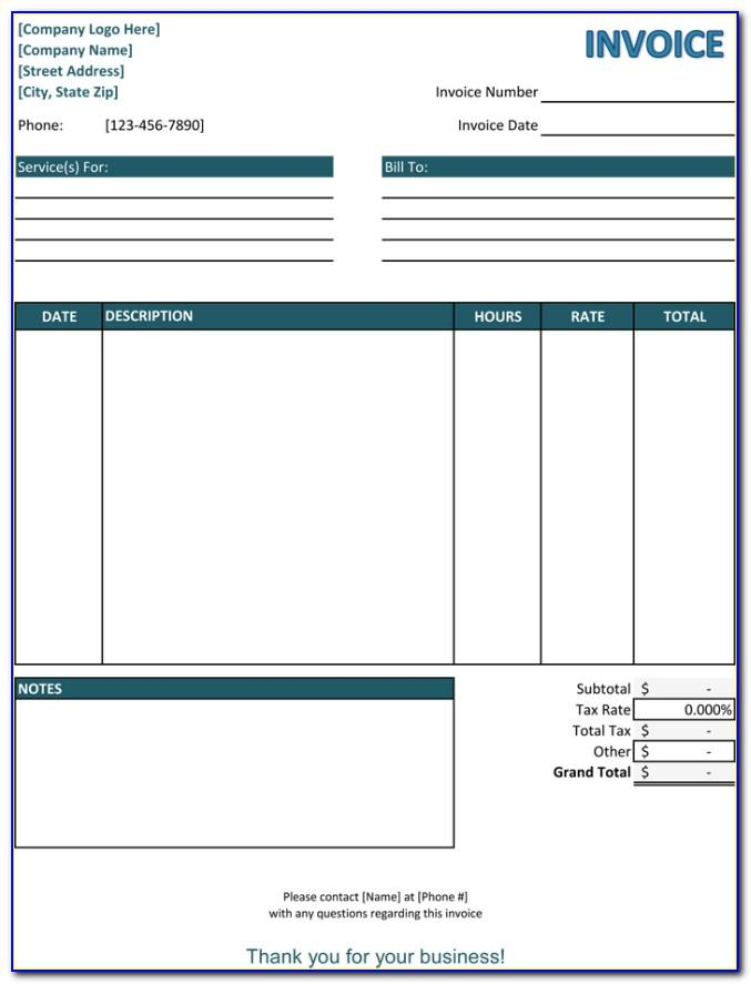 Simple Service Invoice Template Word