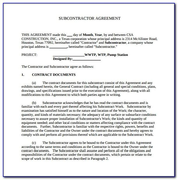 Simple Subcontractor Agreement Sample