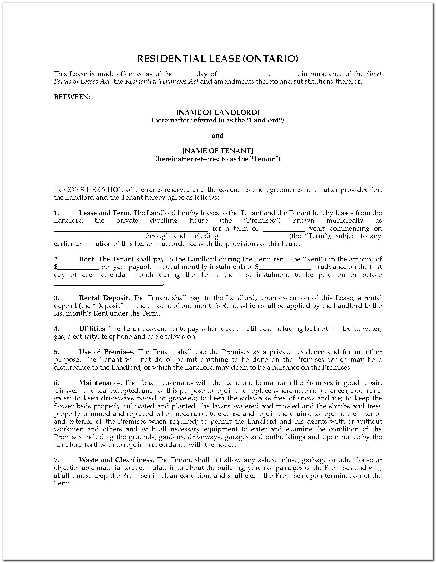 Simple Sublease Agreement Template Pdf