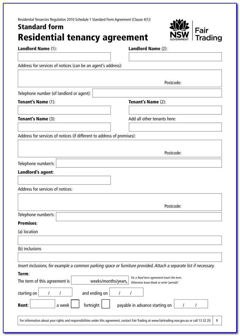 Simple Tenancy Agreement Template Nz