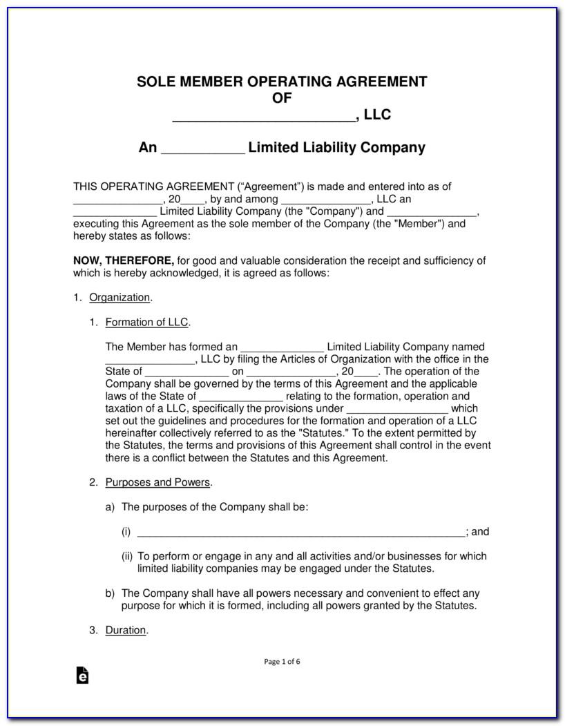 Single Member Llc Operating Agreement Free Template