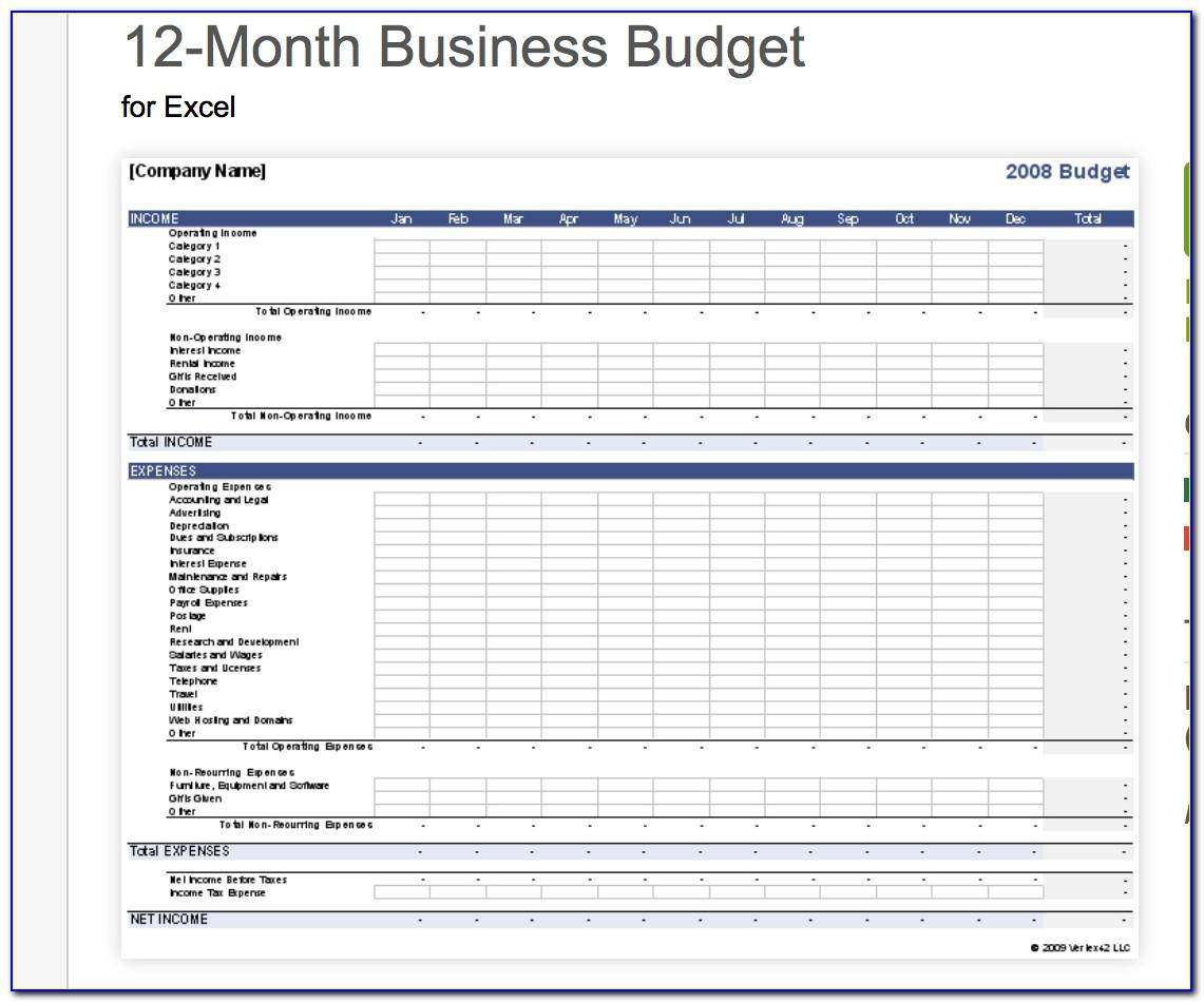 Small Business Annual Budget Template Excel