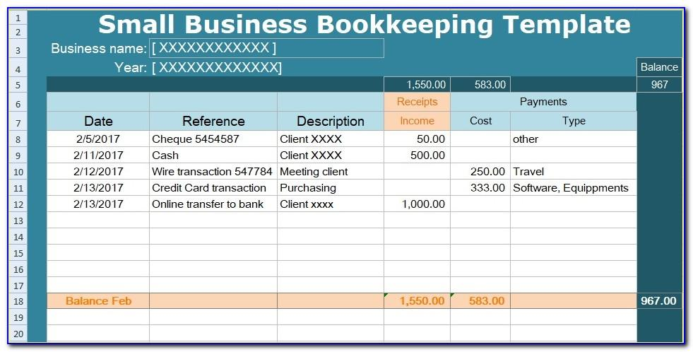 Small Business Bookkeeping Templates Free