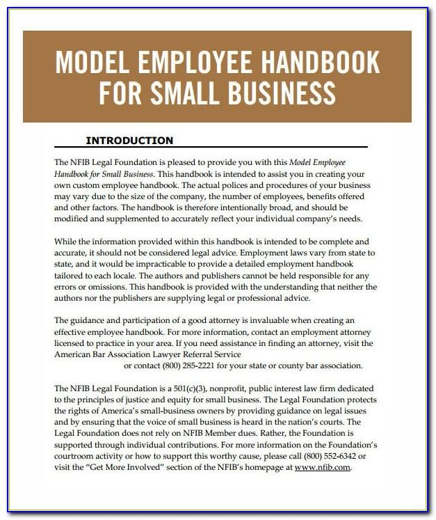 Small Business Employee Handbook Examples