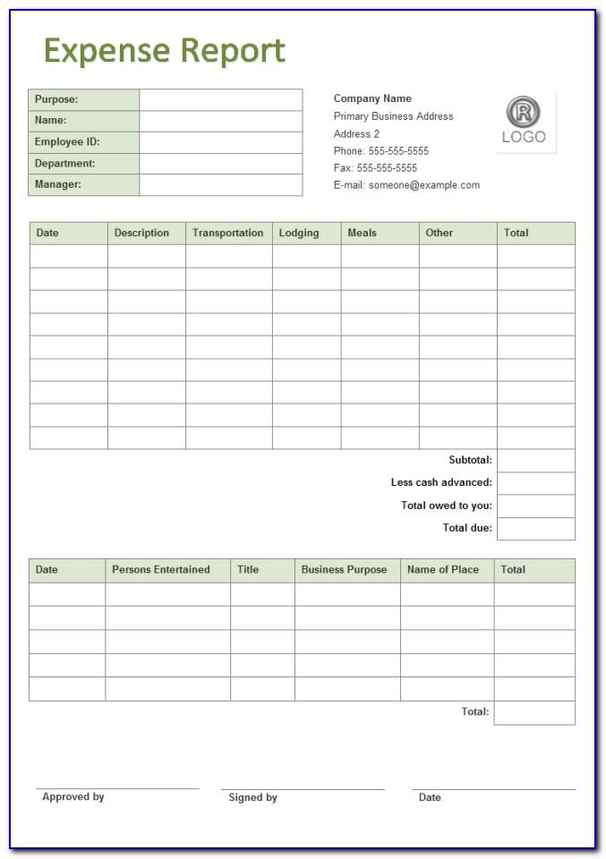 Small Business Expense Report Template Free