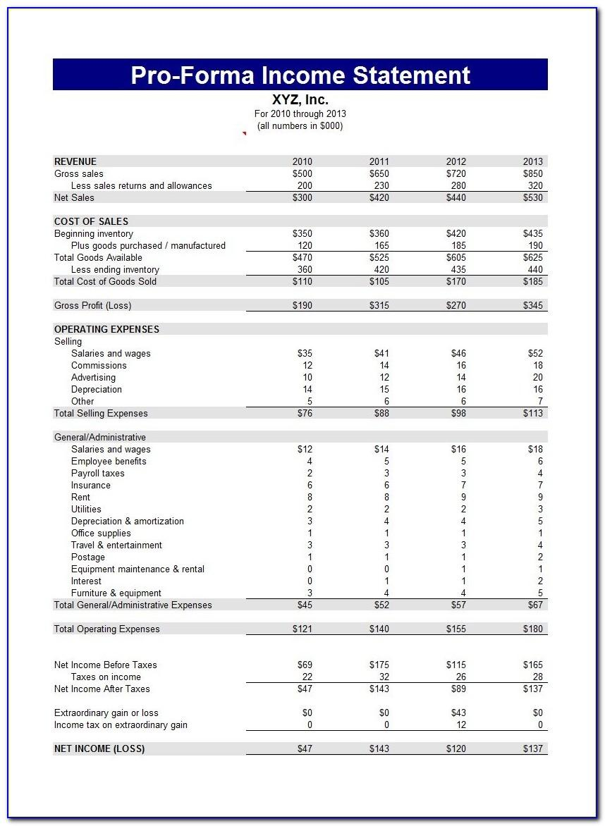 Small Business Income Statement Sample