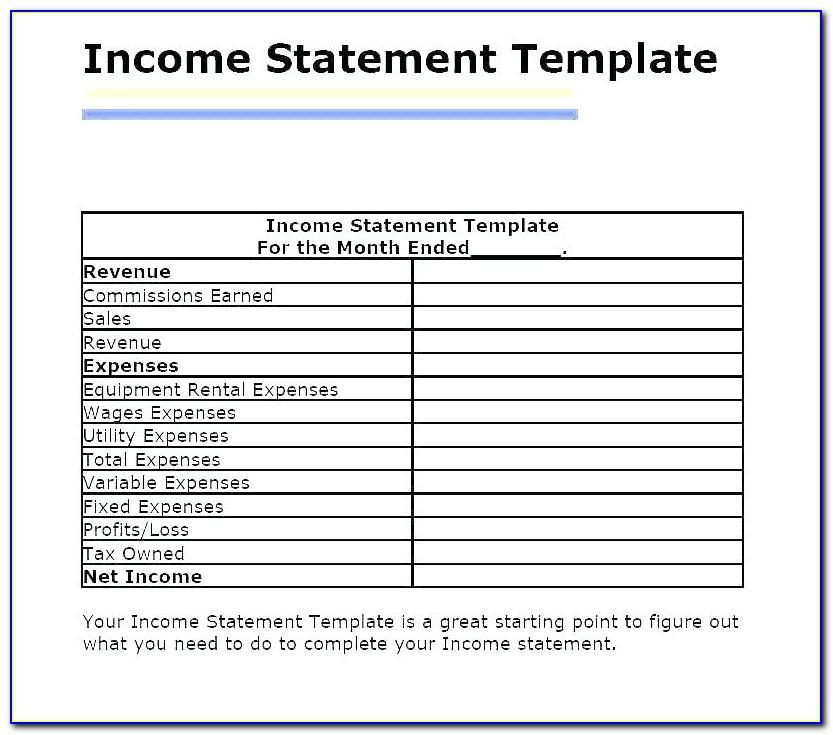 Small Business Monthly Income Statement Template