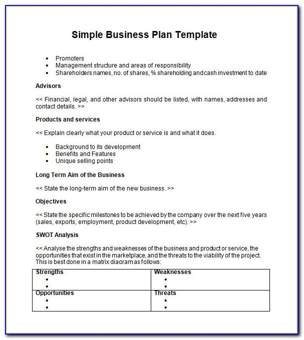 Small Business Plan Template Free Uk