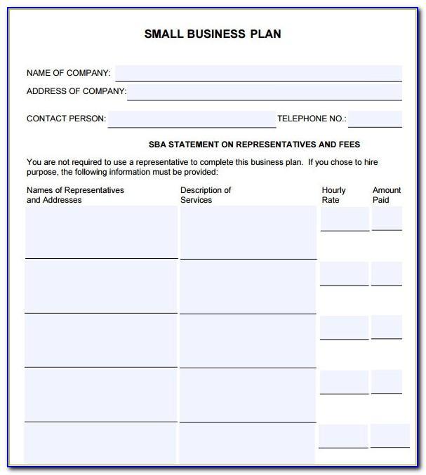 Small Business Plan Template Sba