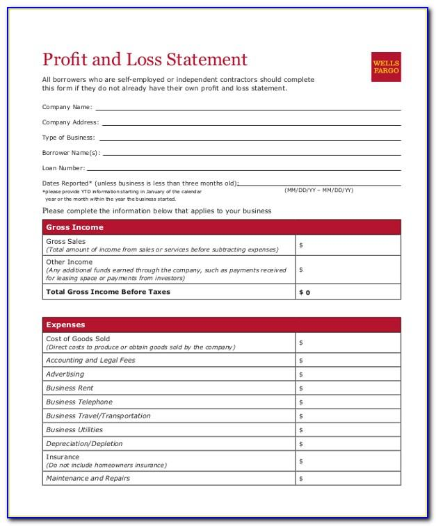 Small Business Profit And Loss Statement Sample