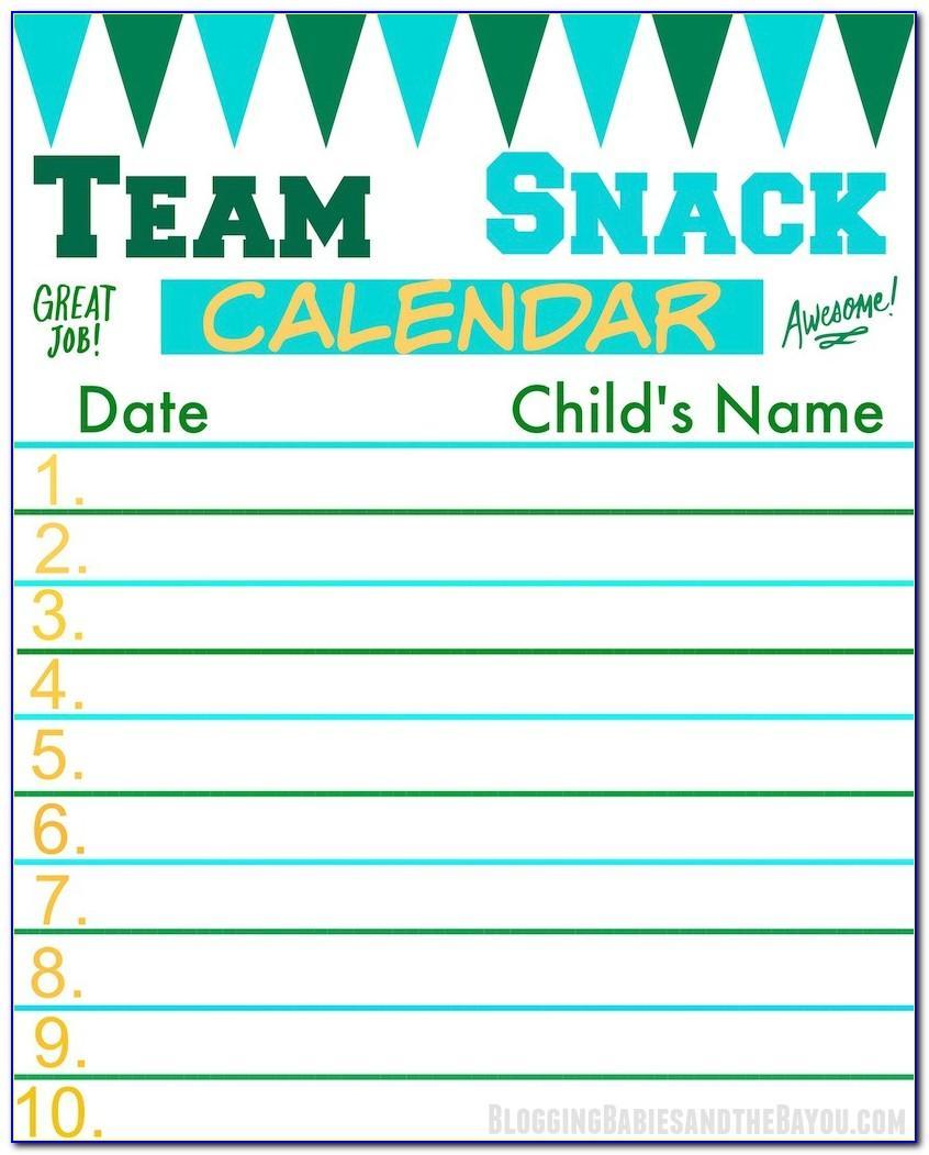 Snack Schedule Template For Preschool