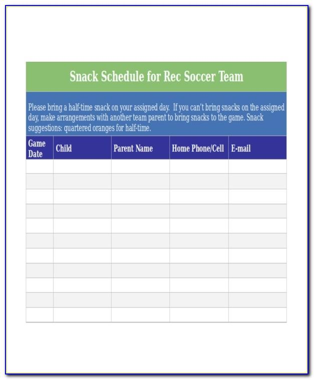 Snack Schedule Template Free