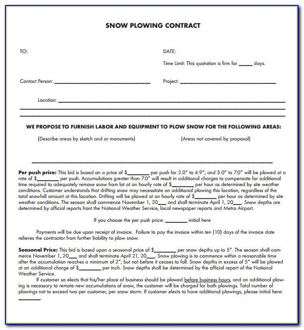 Snow Removal Contract Examples
