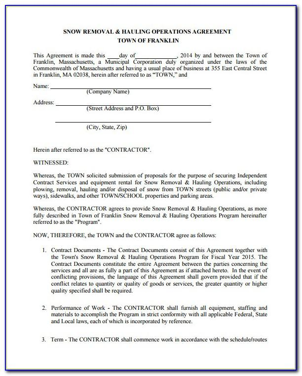 Snow Removal Contract Form Free
