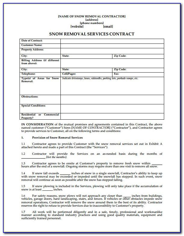 Snow Removal Contract Sample Free