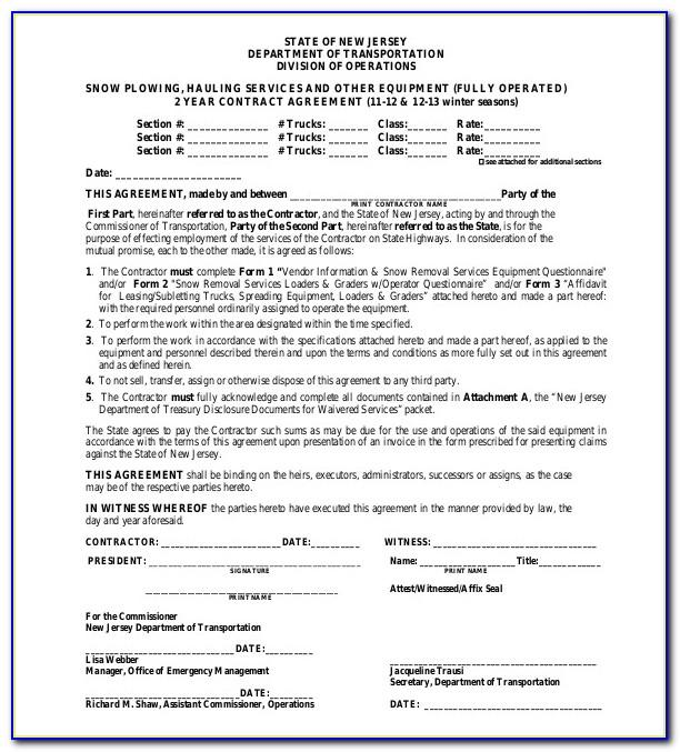 Snow Removal Contract Template Free