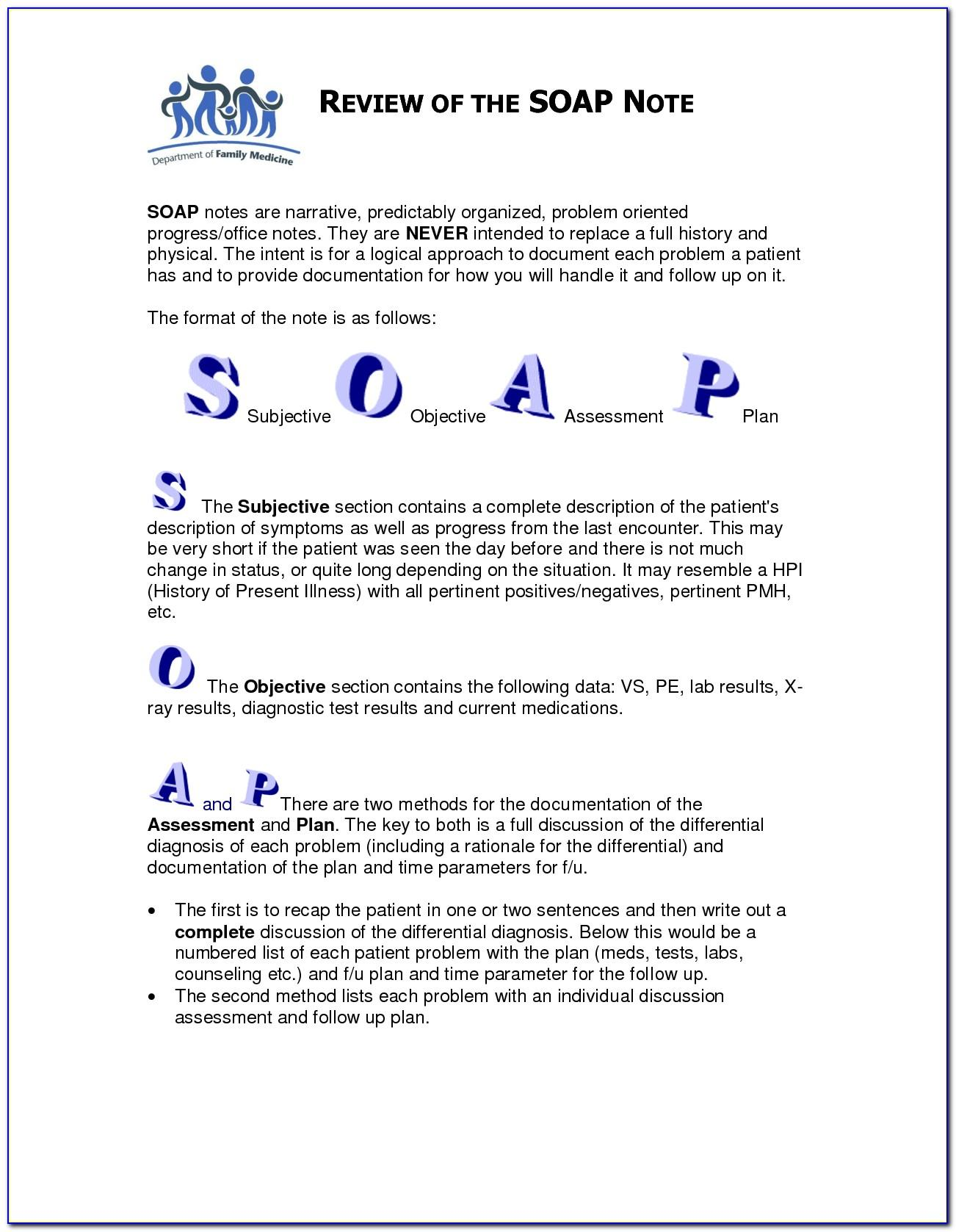 Soap Note Assessment Example Physical Therapy