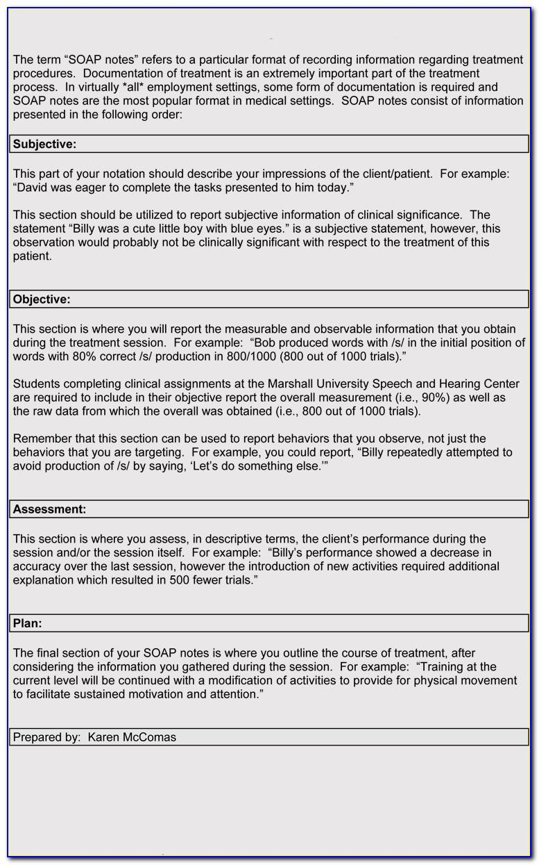 Soap Note Examples For Occupational Therapy