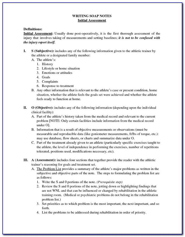 Soap Note Template For Physical Therapy