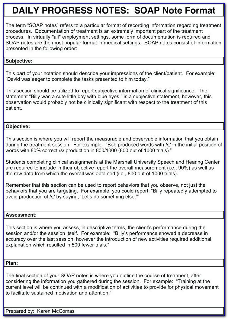 Soap Note Template For Therapy