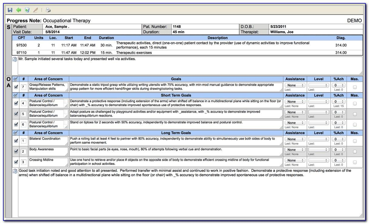 Soap Note Template Occupational Therapy