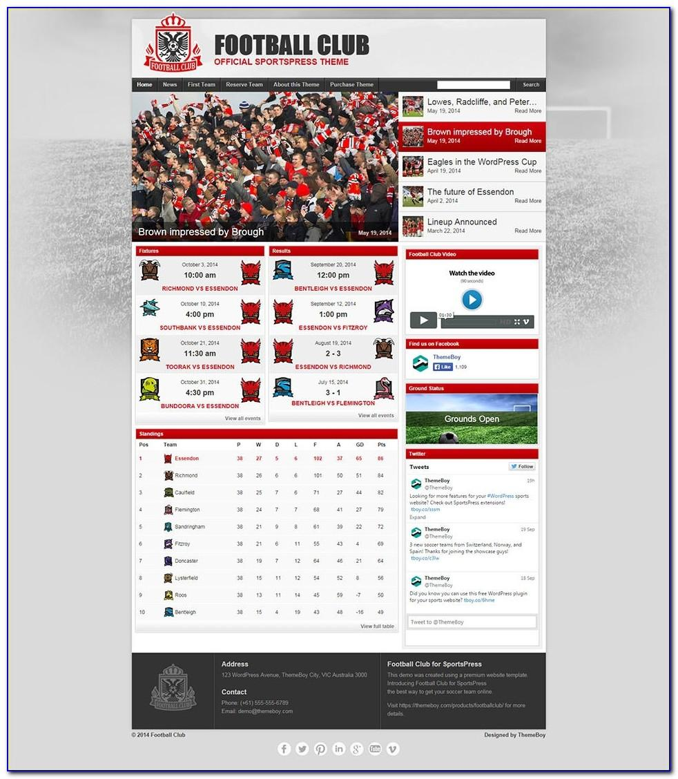 Soccer Website Templates Free