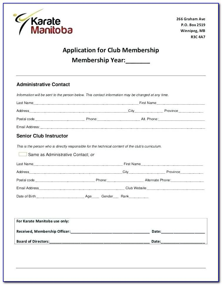 Social Club Application Form Template