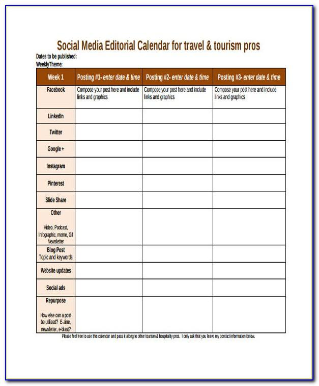 Social Media Editorial Calendar Template Hootsuite