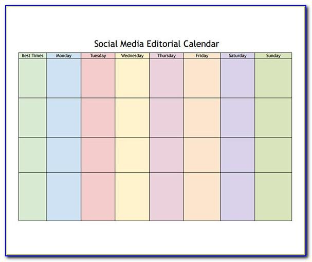 Social Media Marketing Editorial Calendar Template