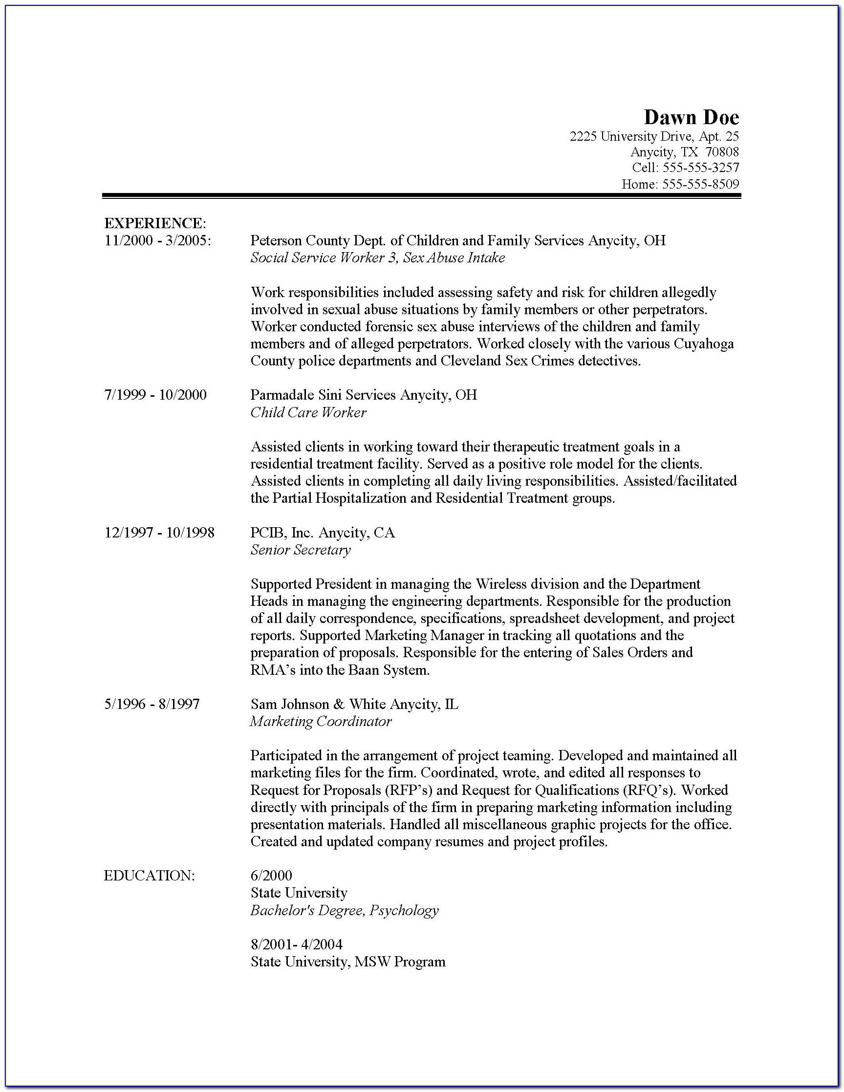 Social Work Resume Templates Entry Level