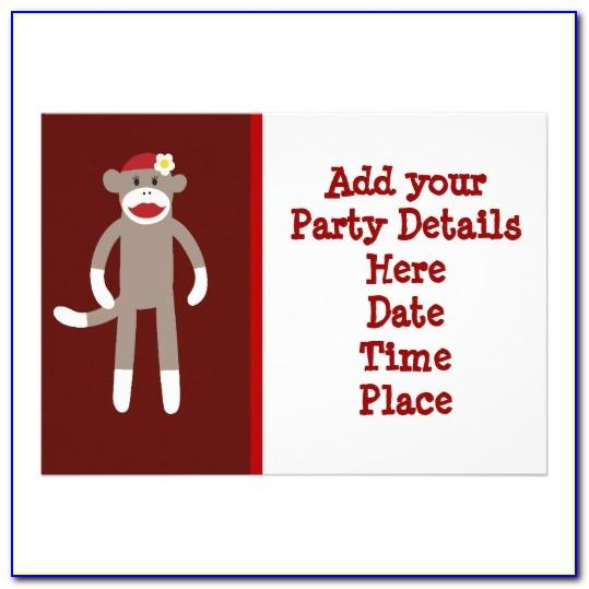 Sock Monkey Invite Template