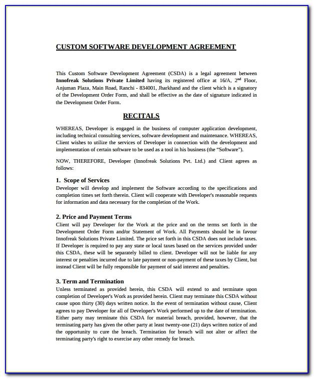Software Development Contract Template Uk Free