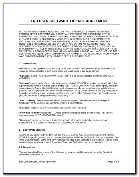 Software End User License Agreement Sample India
