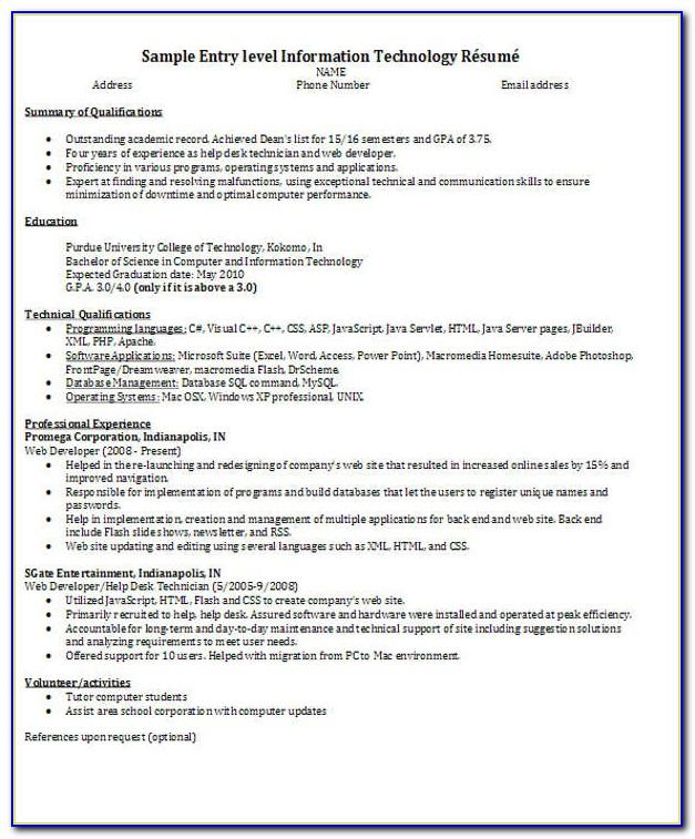Software Engineer Cv Template Free Download