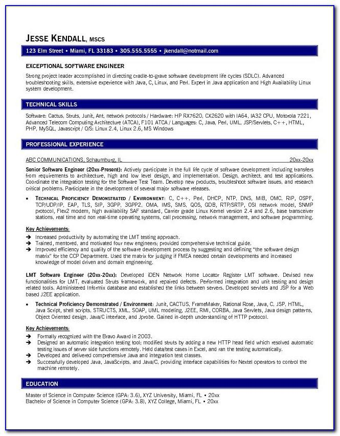 Software Engineer Resume Format Free Download