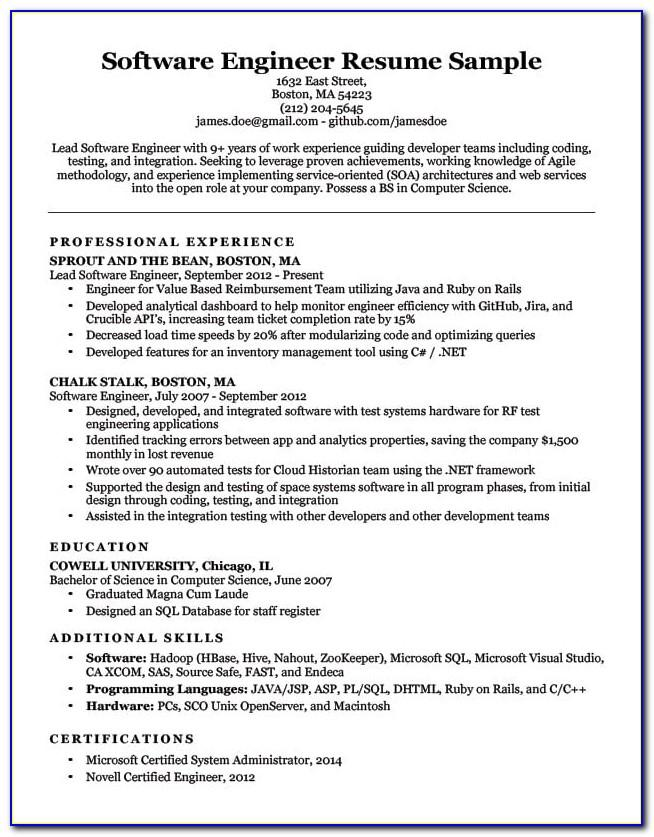 Software Engineer Resume Template Download