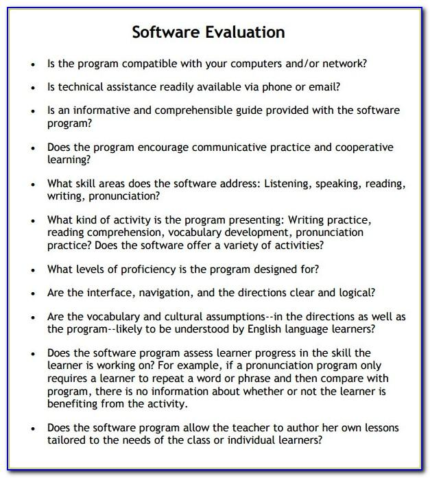 Software Evaluation Questionnaire Sample