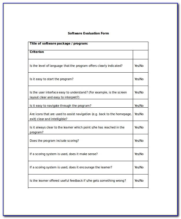 Software Evaluation Survey Template