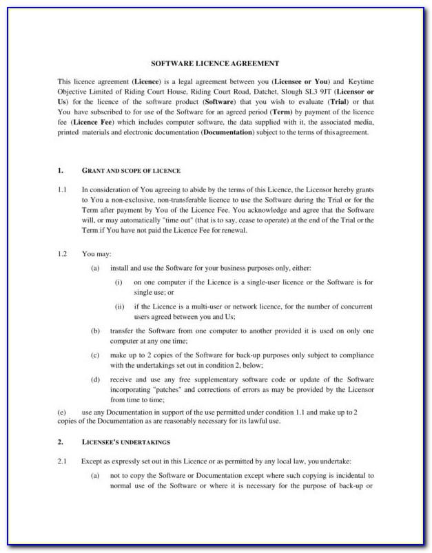 Software License Agreement Template Canada