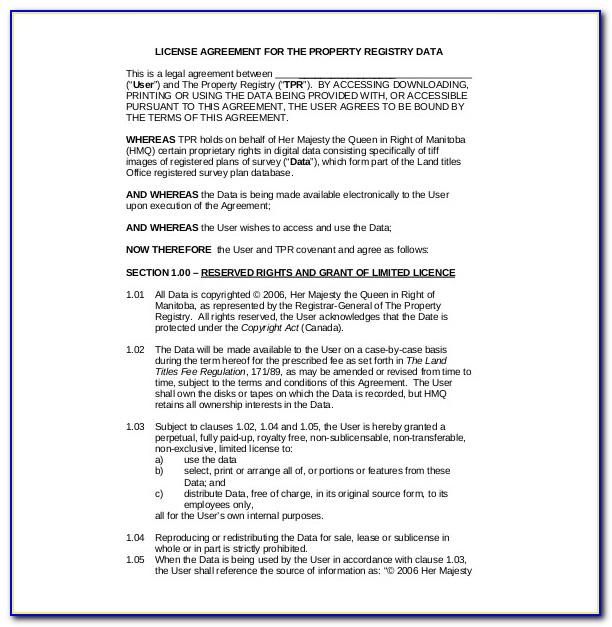 Software License Agreement Template Pdf