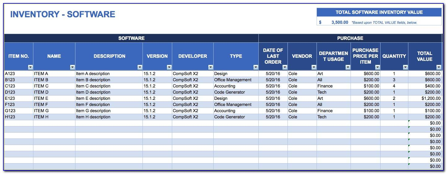 Software License Inventory Template