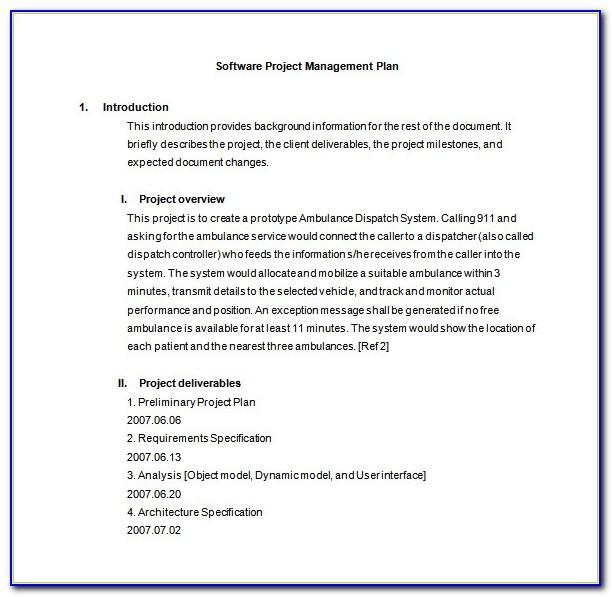 Software Project Management Plan Template Pdf