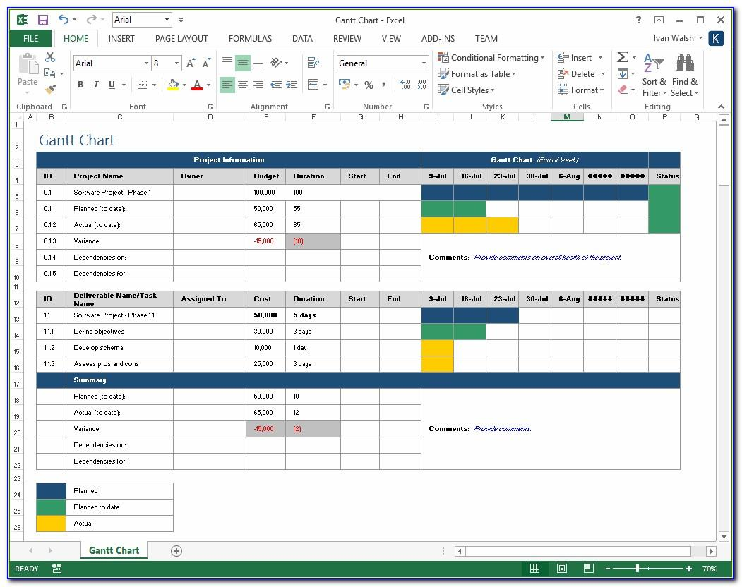 Software Project Plan Example Excel