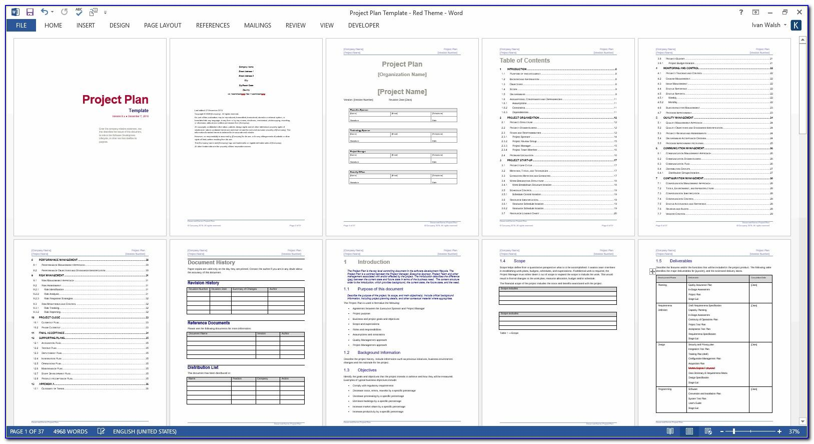 Software Project Plan Template Mpp
