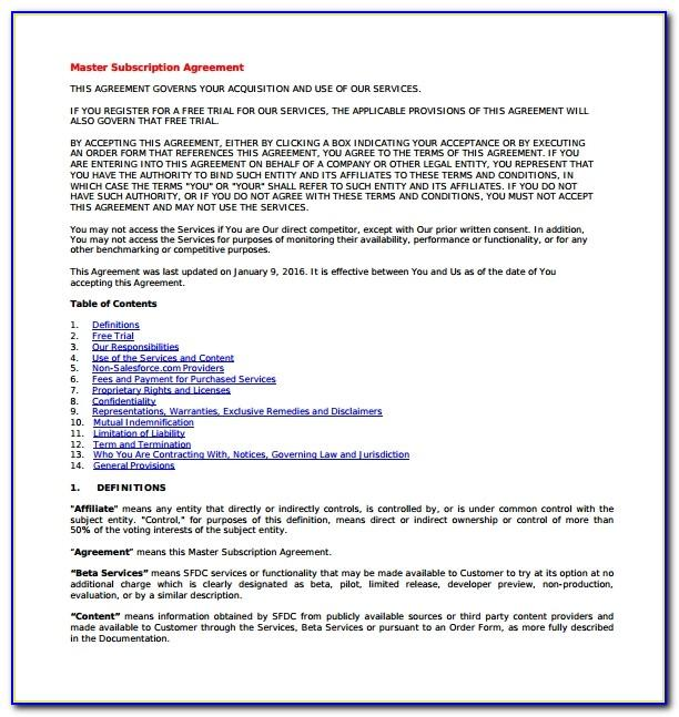 Software Subscription Agreement Sample